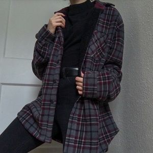 Other - Plaid Sherpa Lined Jacket